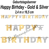 Geburtstagsbanner Happy Birthday Silver & Gold
