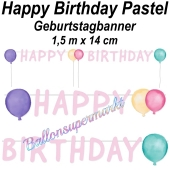 Geburtstagsbanner Happy Birthday Pastel