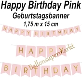 Geburtstagsbanner Happy Birthday Pink