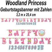 Kindergeburtstagsbanner Woodland Princess mit Zahlen