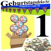Geburtstagsdeko-Set 1 zum 30. Geburtstag, Wimpelkette Zahl 30, Tischkonfetti 30 und 10 Heliumballons Zahl 30