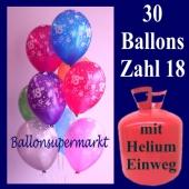 Geburtstagsdekoration: 0 Zahlenballons, Zahl 18 zum 18, Geburtstag mit dem Helium-Einwegbehälter