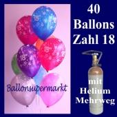 Geburtstagsdekoration, 40 Luftballons Zahl 18, zum 18. Geburtstag mit Helium-Mehrweg