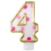 Kerze Pink Dots, Zahl 4