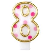 Kerze Pink Dots, Zahl 8