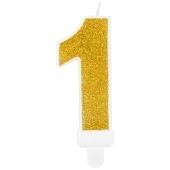 Kerze Gold Glitter, Zahl 1