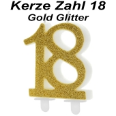 Kerze Gold Glitter, Zahl 18