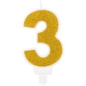 Kerze Gold Glitter, Zahl 3
