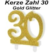 Kerze Gold Glitter, Zahl 30