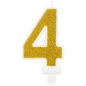 Kerze Gold Glitter, Zahl 4