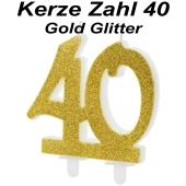 Kerze Gold Glitter, Zahl 40