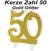 Kerze Gold Glitter, Zahl 50