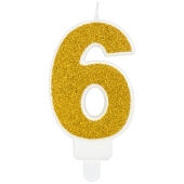 Kerze Gold Glitter, Zahl 6
