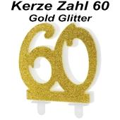 Kerze Gold Glitter, Zahl 60