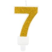 Kerze Gold Glitter, Zahl 7