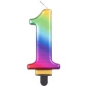 Kerze Rainbow Metallic, Zahl 1