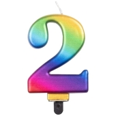 Kerze Rainbow Metallic, Zahl 2