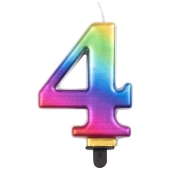 Kerze Rainbow Metallic, Zahl 4