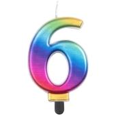Kerze Rainbow Metallic, Zahl 6