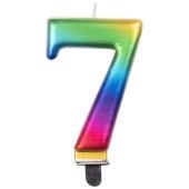 Kerze Rainbow Metallic, Zahl 7