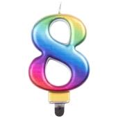 Kerze Rainbow Metallic, Zahl 8