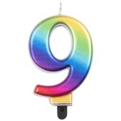 Kerze Rainbow Metallic, Zahl 9