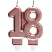Roségoldene Kerze Zahl 18
