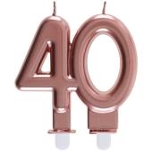 Roségoldene Kerze Zahl 40