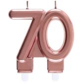 Roségoldene Kerze Zahl 70