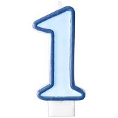 Geburtstagserze, Zahl 1, Blau