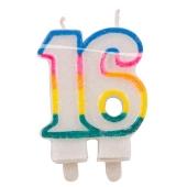 Geburtstagskerze Zahl 16 zum 16. Geburtstag