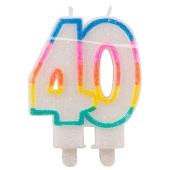 Geburtstagskerze Zahl 40 zum 40. Geburtstag