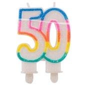 Geburtstagskerze Zahl 50 zum 50. Geburtstag