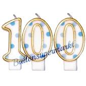 Kerzen Blue Dots Zahl 100