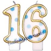 Kerzen Blue Dots Zahl 16