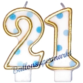 Kerzen Blue Dots Zahl 21