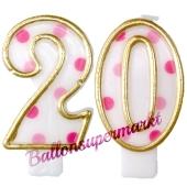 Kerzen Pink Dots Zahl 20