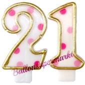 Kerzen Pink Dots Zahl 21