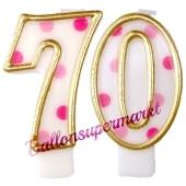 Kerzen Pink Dots Zahl 70