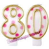 Kerzen Pink Dots Zahl 80