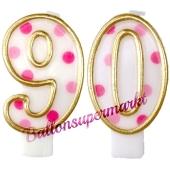 Kerzen Pink Dots Zahl 90