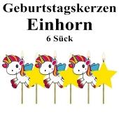 Geburtstagskerzen Einhorn, 6 Stück