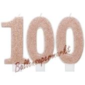 Kerzen Roségold Glitter Zahl 100