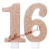 Kerzen Roségold Glitter Zahl 16