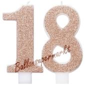 Kerzen Roségold Glitter Zahl 18