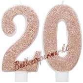 Kerzen Roségold Glitter Zahl 20