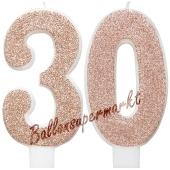 Kerzen Roségold Glitter Zahl 30