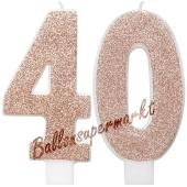 Kerzen Roségold Glitter Zahl 40