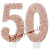 Kerzen Roségold Glitter Zahl 50