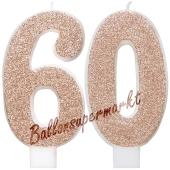 Kerzen Roségold Glitter Zahl 60